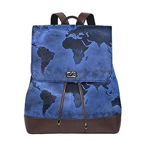 LUPINZ – Mochila de piel con estampado de mapamundi, color azul oscuro