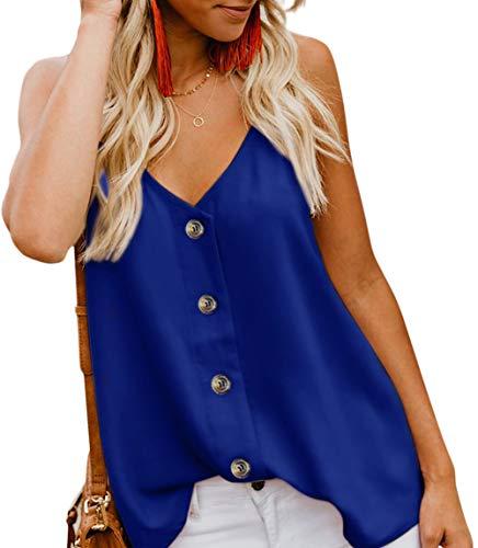 Zhuanglin Womens Tops Loose Fitting Bat Wing Plain Shirts Waffle Knit Tunic Blouse Blue