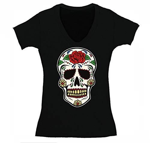 XtraFly Apparel Women's Sugarskull Diamond Clown Skulls Day of The Dead V-Neck Short Sleeve T-Shirt