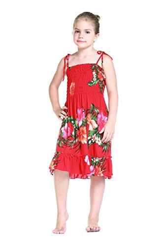 Girl Red Floral Hawaiian Luau Dress in Various Styles
