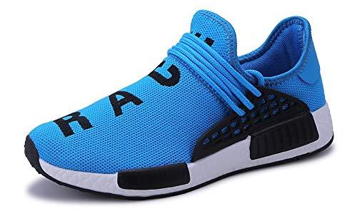 JIYE Men's Running Shoes Free Transform Flyknit Fashion Sneakers, Blue,40EU=7US-Men/8.5US-Women