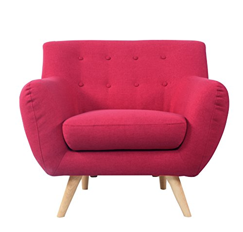 Red Button-Tufted Arm Chair with Timber Legs