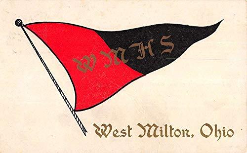 West Milton Ohio High School Pennant Flag Vintage Postcard KK74