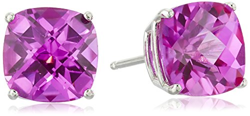 - Sterling Silver Cushion-Cut Checkerboard Created Pink Sapphire Stud Earrings (8mm)