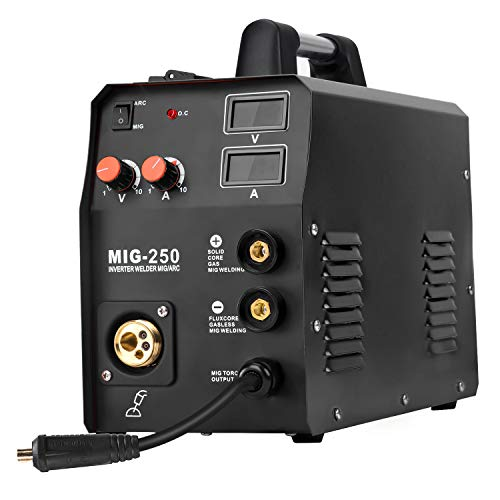HZXVOGEN 220V Mig Welder IGBT Lift Tig Gas Gasless Stick Arc MMA Welding Machine No Gas Self- shielded Home Use Factory Machine (Mig250, Black)