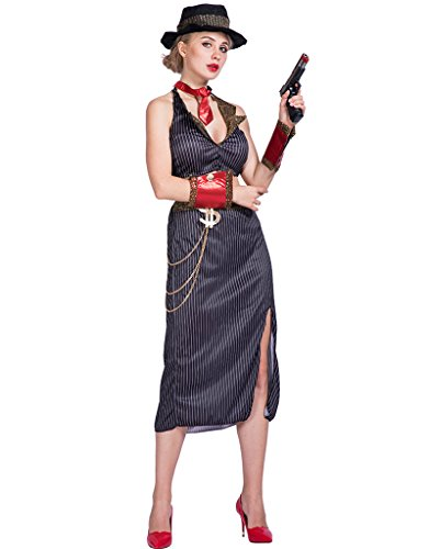 EraSpooky Women's Glam Gangster Costume(As Picture, Medium) - Gangster Themed Party Costume