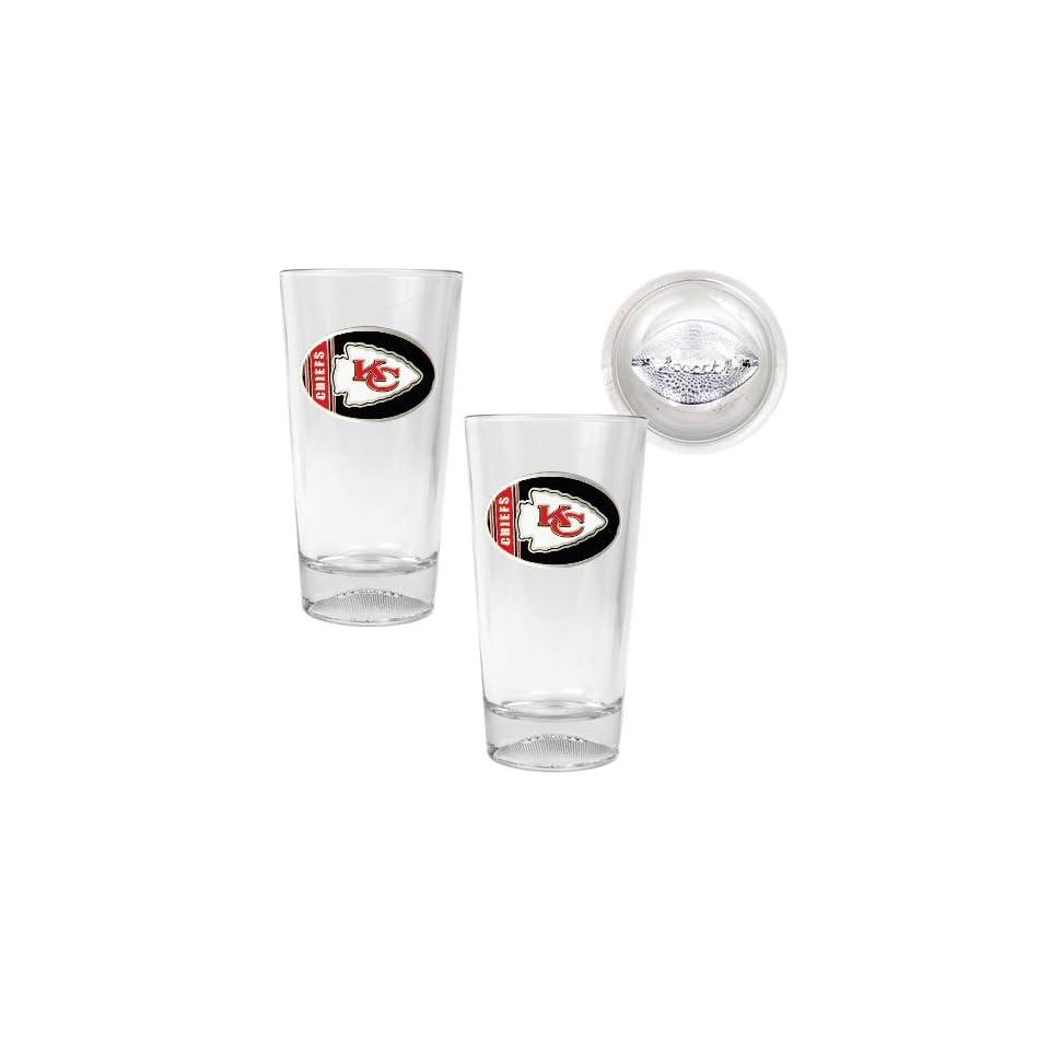 Kansas City Chiefs NFL 2pc Pint Ale Glass Set with Football Bottom   Oval Logo