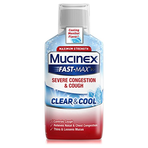 Mucinex Fast-Max Clear & Cool Adult Liquid - Severe Congestion & Cough 6 oz (Pack of 5)