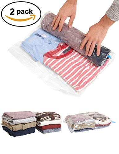 Travis Travel Gear Space Saver Bags. No Vacuum Rolling Compression, Pack of...