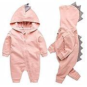BANGELY Newborn Baby Boys Girls Cartoon Dinosaur Hoodie Romper Onesies Jumpsuit Outfits Size 3-6Months/66 (Pink)