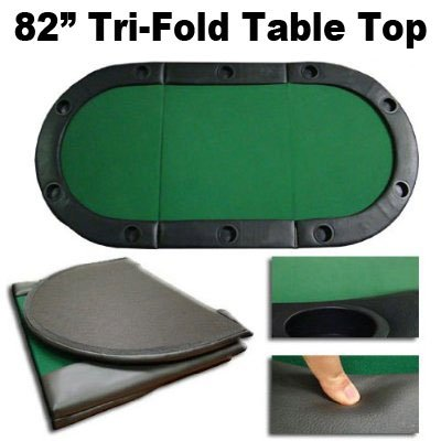 "82"" Tri-Fold Poker Table Top w/ Cup Holders"