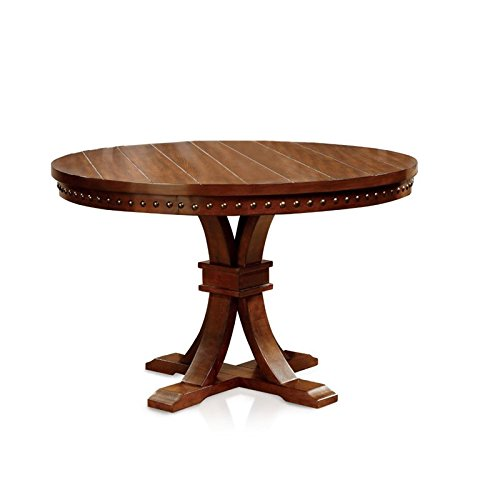 Furniture of America Castile Transitional Round Dining Table, Dark Oak ()