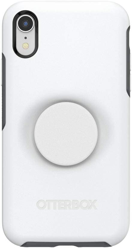 Otter + Pop for iPhone XR: OtterBox Symmetry Series Case with PopSockets Swappable PopTop - Polar Vortex and White