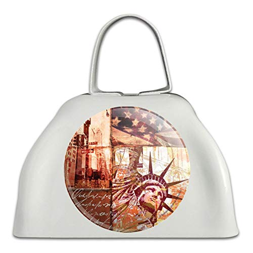 New York City Statue Liberty Tile Collage White Metal Cowbell Cow Bell Instrument