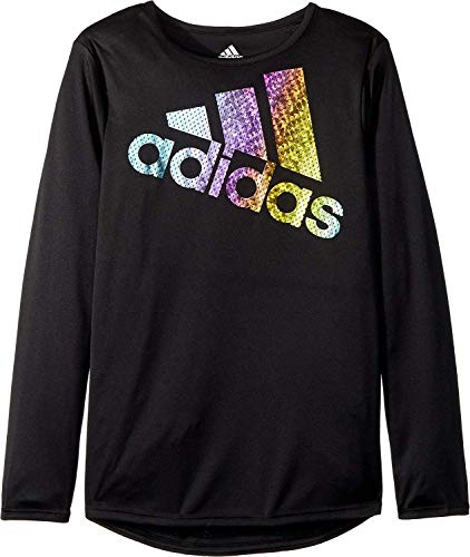 Price comparison product image adidas Kids Girl's Long Sleeve Colors Ignite Tee (Big Kids) Black Large