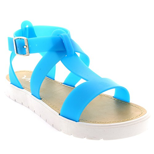 Femmes T Ouvert Strap A Chaussures Bleu Viva Sandales Bout Gelée Crampons Semelle HSRWdq884c