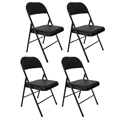 XGao 4pcs Backrest Folding Chair Training Chairs with Metal Frame Modern Design Ergonomic Desk Chairs Anti-Slip Easy to Fold Stainless Steel Legs for Home Office Conference Study Room (Black)
