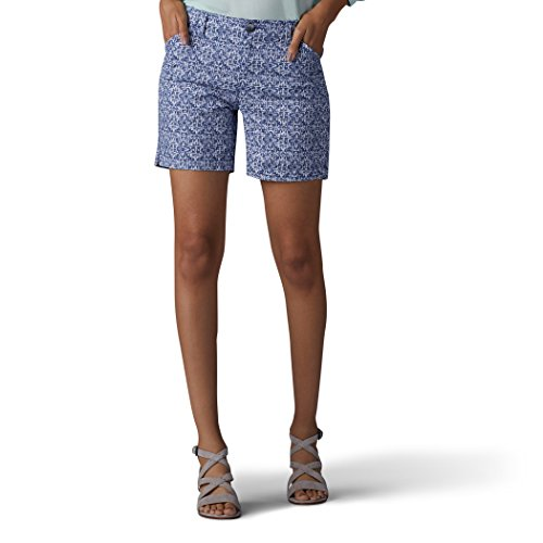 LEE Women's Straight Fit Tailored Chino Short, Indigo Textured Tile, 16 ()
