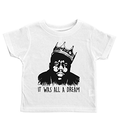Baffle Biggie Smalls Crew Neck Toddler Tee/IT was All A Dream/Notorious Big (4T, White)