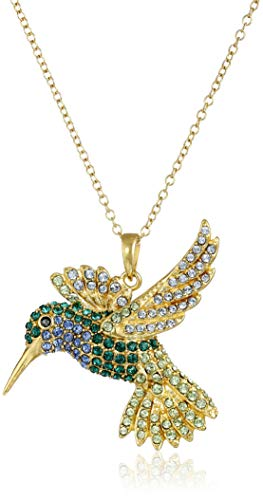"18k Yellow Gold Plated Sterling Silver Green and Blue Hummingbird Pendant Necklace Made with Swarovski Crystal (18"")"