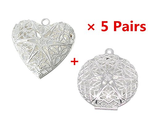 (Yueton 10pcs Silver Round and Heart Shape Plated Photo Locket Frame Pendants (Silver) )