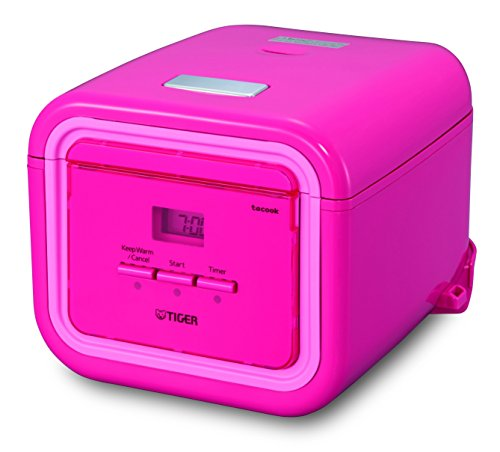 Tiger JAJ-A55U-PP 3-Cup (Uncooked) Micom Rice Cooker with Slow Cooker & Bread Maker, Pink