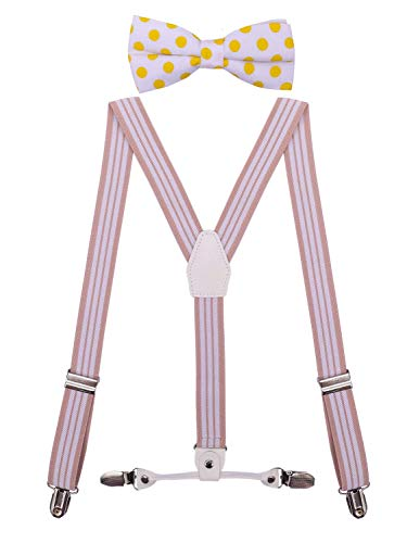 - CEAJOO Girls Teens Suspenders Adjustable with Polka Dot Bow Tie Set 40