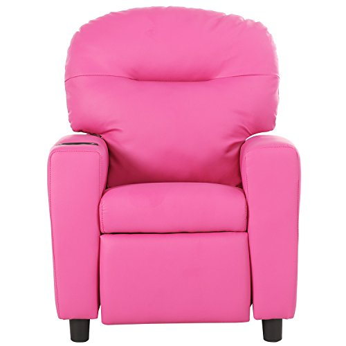 41G2nowpoWL - Harper&Bright Designs Kids Recliner with Cup Holder PU Leather Sofa Chair for Child (Pink)