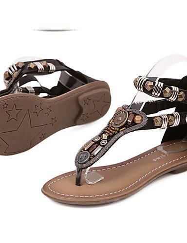 ShangYi Womens Shoes Flat Heel Closed Toe Sandals Outdoor/Dress/Casual Black/Brown Brown