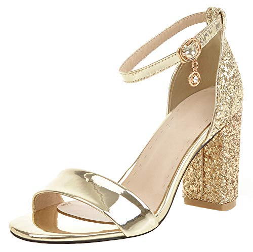 Mofri Women's Dressy Open Toe Buckle Ankle Strap Colors High Chunky Heels Dress Shoes Sandals (Gold, 9.5 M US)