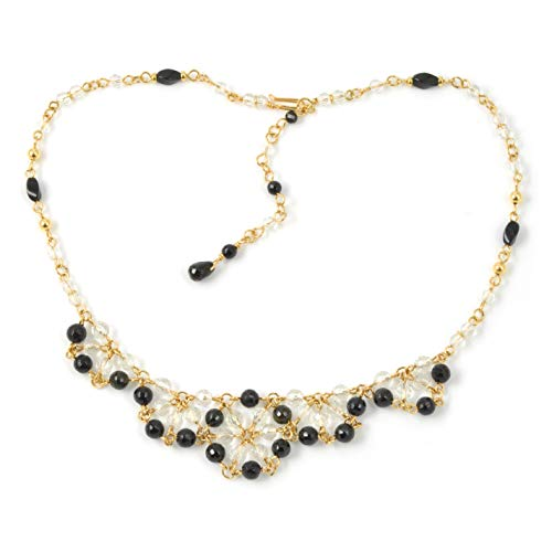 Black Tourmaline Chainmaille Necklace in 14K Gold Filled; Adjustable to Wear Three Ways