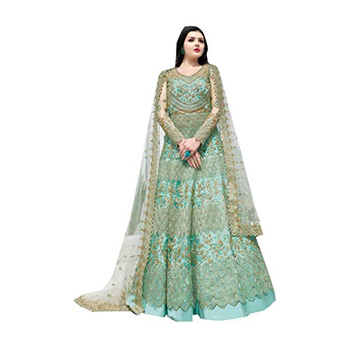 - Sea Green Indian Bollywood Evening Cocktail Net Anarkali Salwar Skirt style Suit Abaya Women Eid dress Semi-stitch 7942