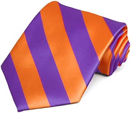 Purple and Orange Striped Tie