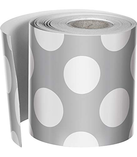 Schoolgirl Style Rolled Straight Borders, Gray with Polka Dots (108334) (Bulletin Board Paper Grey)