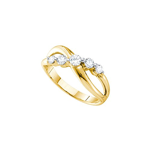 14kt Yellow Gold Womens Round Diamond 5-stone Crossover Infinity Band Ring 1/2 Cttw by JawaFashion