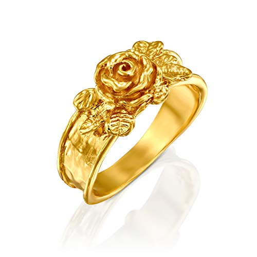 PZ Paz Creations 14k Gold Over 925 Sterling Silver Rose Flower Ring (Gold, 6) 14k Signet Mens Ring