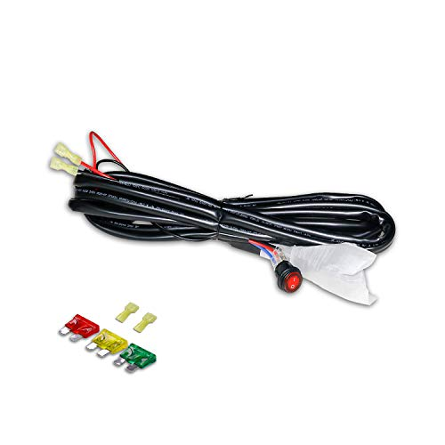 LED Light Bar Wiring Harness - 4WDKING 12V 40A Relay Fuse On/Off Power Waterproof Switch for Off Road Jeep ATV Truck