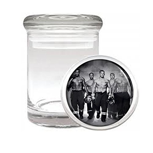 """Medical Glass Stash Jar Hot Firemen Male Model S5 Air Tight Lid 3"""" x 2"""" Small Storage Herbs & Spices"""