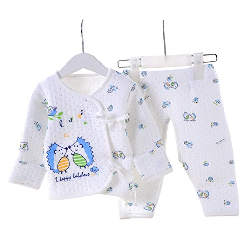 Price comparison product image OUCHI Baby Newborn Hedgehogs Print Belted Shirt and Pants 2PCs Underwear Set Blue