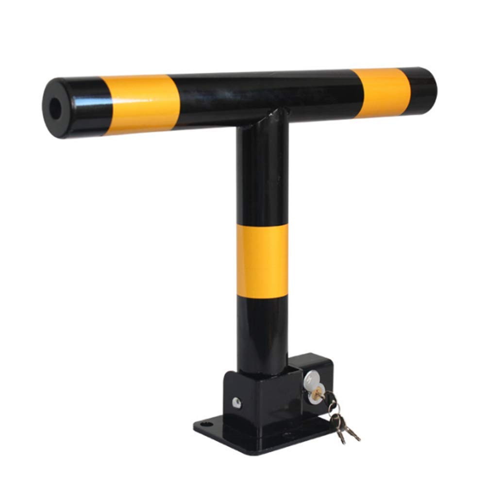 Folding Parking Barrier, with 3 Keys, 500x 400x 60mm, with Yellow Warning Stripes, Black