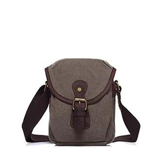 Mens Bag Color: Army Green Simple Retro Zip Canvas Shoulder Bag Messenger Bag High capacity (Color : ArmyGreen)
