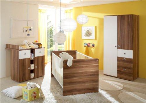 Babyzimmer komplett Walnuss Nachbildung / weiss