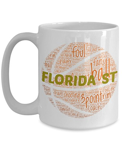 FLORIDA ST SEMINOLES Basketball mug – coffee tea cup for college sports fan – ceramic team gift -- NCAA college basketball -- 11 ounce or 15 ounce white