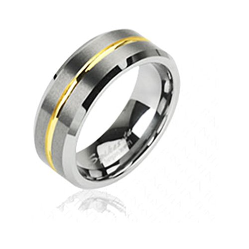 Tungsten Carbine Ring With Gold Tone Striped Center, 14