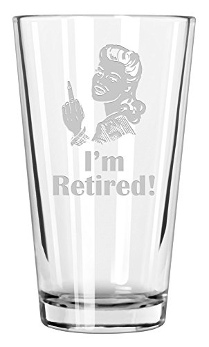 Crass Glass I'm Retired! pint glass (Woman)