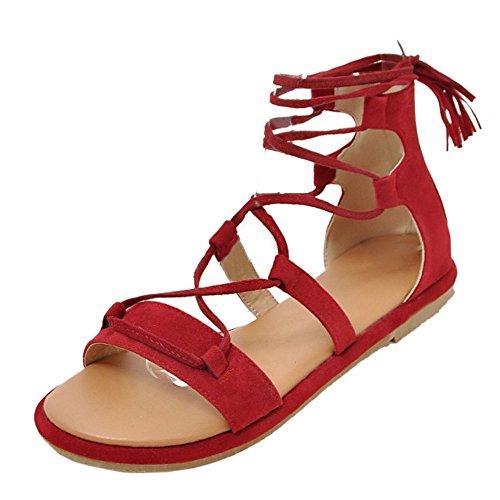 TAOFFEN Clasico Gladiador Verano Sandalias Con Cordones Plano Playa Zapatos  Rojo f2fedef060ab