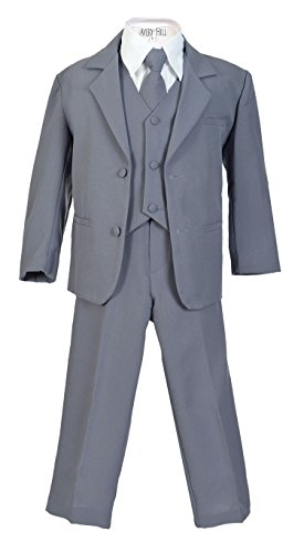 Avery Hill Boys Formal 5 Piece Suit with Shirt and Vest, Slate Gray, 5