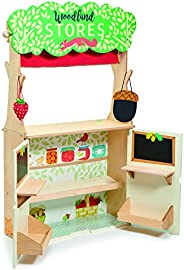 Tender Leaf Toys Woodland Store and Puppet Theater – 2 Sided Reversible Grocery Stand and Hand Puppeteer Stage