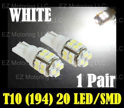 2pcs 20-SMD T10 12V Light LED Replacement Bulbs + STICKER 168 194 2825 W5W - White