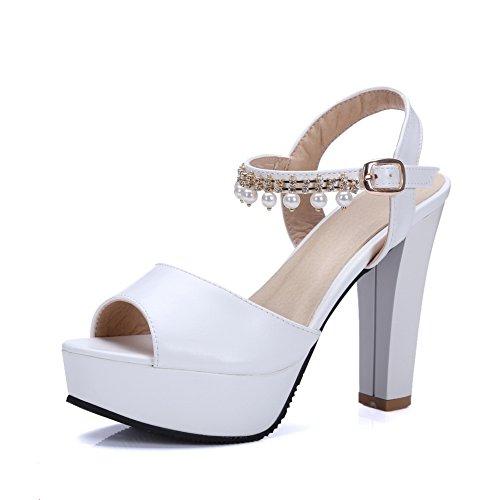White SLC04034 Ballerine Bianco Donna EU 35 AdeeSu HI7w41q4